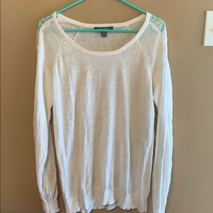 Tommy Bahama cream linen lace sheer sweater Medium